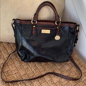 Black with brown trim Brahmin crossbody satchel